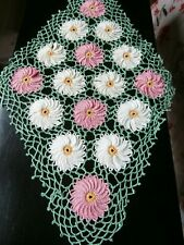 VINTAGE GREEN/PINK/WHITE COTTON HAND CROCHET LACE LARGE TABLE MAT or DOILY~