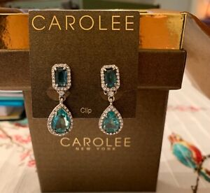 """CAROLEE Crystal &  Blue  Stone Clip on   Statement 1.25"""" Drop Earrings~Fr. Shp."""