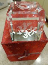 decorative Crystal Cube With Oriental Writing