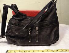 Ladies Black Leather Purse, Stone M