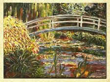 Originial Oil Painting inspired by Monet's Water Garden and Bridge, 40x30 cm