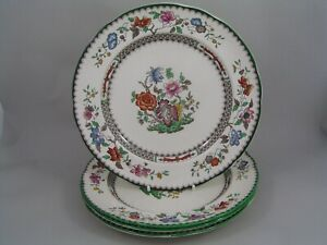 "FOUR COPELAND SPODE CHINESE ROSE 10 1/2"" DINNER PLATES, BROWN BLACKSTAMP."