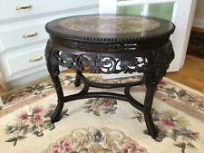 Antique Chinese Marble Top Carved Rosewood Oval Table