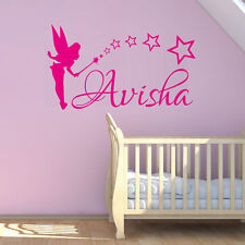 Custom Any Name Home Decor Art Sticker Fairy and Stars Wall Decal For Girls Room