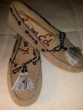 Sam Edelman Fantine Tasseled Suede Womens Driving Moccasin Beige Size 6.5 NEW