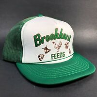 Vintage Brookhurst FEEDS Mesh SnapBack Trucker Hat Cap Farm Green White Vtg EUC