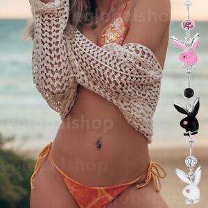 Playboy Rabbit Crystal Barbells dangly Navel Belly Bar Button Ring Body Piercing