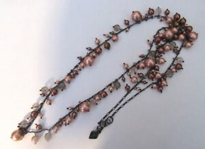 Sequin Brand Necklace dark silver color- pearl beads-pink & brown shades- 34""