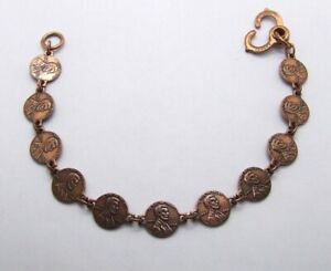 "8"" Mini Copper Penny Bracelet~Tiny 10mm Replica Pennies~Lincoln Head 1964 Date"