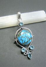 Natural, Copper Turquoise Gemstone Pendant with Blue Topaz - 925 Stamped
