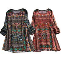 Women Boho Floral Long Sleeve Blouse Loose Tops Hippie Tunic T Shirt Plus Size