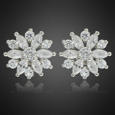 Hot! Fashion Jewellery White Topaz Marquise Cut 18K White Gold Plated Earrings