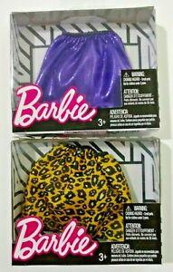 Barbie Doll Clothes Fashion Skirts Purple Metallic Yellow Leopard Print 2 Items