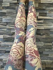 LuLaRoe Valentine Rose Leggings OS Cream Roses Pastel Paisley Vines UNICORN