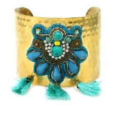 Gold Toned Cuff Bracelet with Tassles and Turquoise Beads