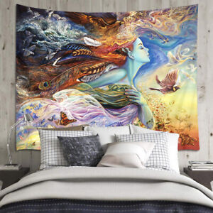 Psychedelic Goddess Tapestry Boho Feather Flowers Wall Hanging Bedspread Cover