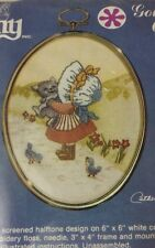 """NIP VTG CATHY GOLDEN OVALS """"MARY'S KITTY"""" # 1277 FACTORY SEALED EMBROIDERY KIT"""