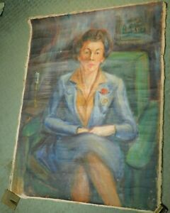 Vintage WPA Era Mystery Artist Portrait Regal Lady Woman Discovered Rolled Up