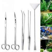 5PCS Stainless Steel Aquarium Plant Maintenance Tools Kit weezers Scissors Safe