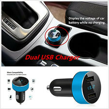 Dual USB 5v 3.1A Voltage Blue Adapter Car Charger For iPhone Samsung LED Display