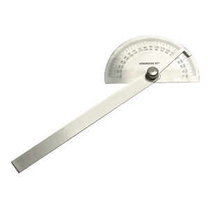 SILVERLINE Stainless steel  PROTRACTOR with locking nut, ENGINEERING TOOL