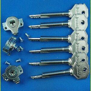 3 Einbausicherungen Set gleichschliessend mit 6 Kreuzbart Stahlschlüssel 50 mm