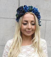 Blue Navy Rose Berry Flower Garland Headband Hair Crown Headpiece Festival 2181