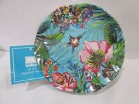 222 Fifth Humming Bird Floral Tropical Melamine Appetizer Plates Set Of 6