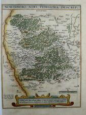 Bayern Nürnberg Erlangen Fürth Feucht Lauf  Landkarte Kupferstich Ortelius 1590