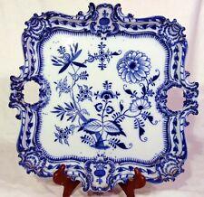 Large Square Meissen Porcelain Handled Tray Platter Cobalt Blue Onion Cake Plate