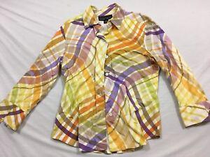 M75 LINDA ALLARD ELLEN TRACY 70's Disco Sleeve Button Front Shirt WOMEN'S 10