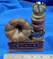Antique Porcelain Mini Kerosene Oil Desk Lamp VTG Lantern Phonograph 78 Rare