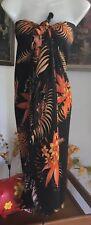 Stunning Beach Festival Holiday Orange Black Fringe Sarong Large Wrap