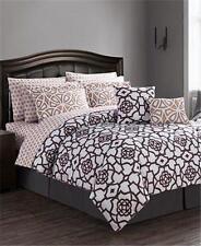 12pc Jessica Sanders Roman Reversible KING Comforter Set Black White Rust Orange