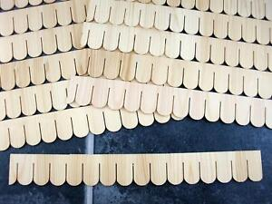 Dolls House Pack of 12 Miniature Wooden Fish Scale Shingle Strips Roofing Tiles