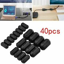 40 Clip-on Ferrite Ring Cable Clips Core RFI EMI Noise Suppressor Filter Beads