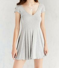 KIMCHI BLUE URBAN OUTFITTERS GRAY SHORT SLEEVE RIBBED KNIT T-SHIRT DRESS Sz L