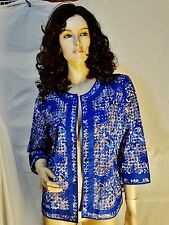 CHICOS SZ 1 KINETIC BLUE EYELET EMBROIDERED OPEN FRONT TOP JACKET
