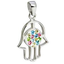 Pendant of Lucky Hamsa evil eye amulet Judaica Silver 925 Swarovski from Israel