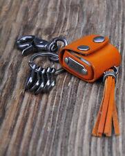 C16  Orange Charm Biker Dices Holder Leather Key Ring Keychain Multi Key Holders