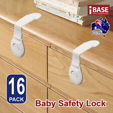 16x Child Adhesive Kid Baby Safety Drawer Door Lock Cupboard Cabinet Belt White