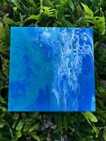 Ocean Blues Original Abstract Painting Blue Navy Turquoise