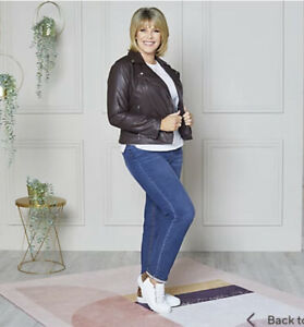 Ruth Langsford Croc Embossed Faux Leather Biker Jacket New Size 12 RRP £85