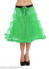 "Womens 30"" Black White Neon 40s 50s Retro Long Tutu Petticoat Under Skirt  10-16"