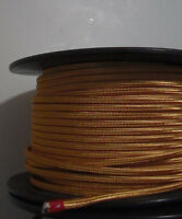 Gold Parallel Rayon Covered Wire Antique Vintage Style Cloth Lamp Cord 25' spool