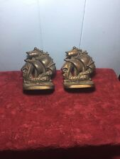 Vintage Solid Brass Sail Boat Ships Book Shelf Book Stoppers