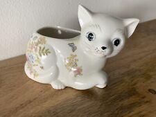 Vintage Takahashi White Floral Porcelain Cat Kitten Wall Pocket Vase Planter