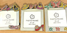 """Photo plus products Metallic Picture Frames Hold 3""""x3""""inch photos lot of 3 girls"""