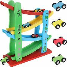 Autorennbahn aus Holz mit 4 Fahrzeugen Kugelbahn Kinderspielzeug ab 3 Jahre 9349