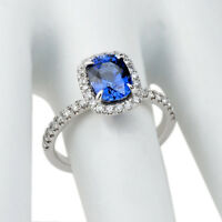 Certified 2.60 Ct Blue Sapphire Gemstone Rings White Gold Finish Silver Size M O